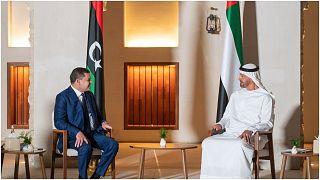 رئيس الحكومة الليبي عبد الحميد الدبيبة رفقة ولي عهد أبوظبي الشيخ محمد بن زايد