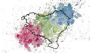 Colour representation of the genetic mix and structure in the Basque region; green symbolizes the Basques, while blue and red show mixing with adjacent populations.