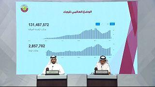 رئيس المجموعة الاستراتيجية القطرية للتصدي لفيروس كورونا عبد اللطيف الخال في مؤتمر صحفي