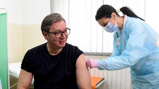 Serbia's president Aleksandar Vucic received a dose of the Chinese Sinopharm vaccine on Tuesday
