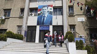 مدخل مستشفى المواساة بالعاصمة دمشق حيث يتوجه من يشتبه بإصابته بكوفيد-19، 31 مارس 2021.