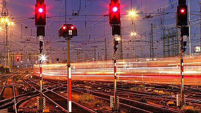 A train leaves the main train station in Frankfurt, Germany