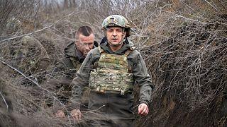 Ukrainian President Volodymyr Zelenskyy on the front line in eastern Ukraine