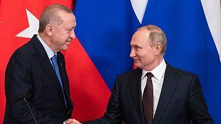 الرئيسان الروسي فلاديمير بوتين والتركي رجب طيب إردوغان