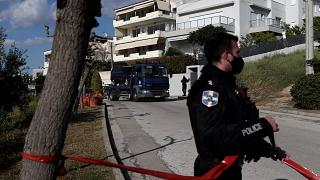 Police outside the home of Giorgos Karaivaz, a crime journalist who was shot dead