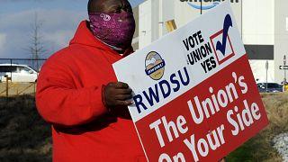 Un líder sindical durante la campaña de apoyo al referéndum