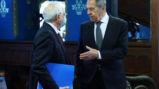 Szergej Lavrov fogadja Josep Borrellt, az Európai Unió kül- és biztonságpolitikai főképviselőjét Moszkvában 2021. február 5-én.