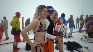 Bikini skiing event marks end of the winter season at Sochi