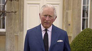 Le Prince Charles, fils du prince Philip et de la reine Elizabeth, rendant hommage à son père, le 10/04/2021