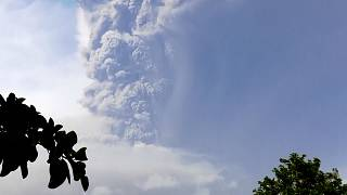 Plume of smoke from La Soufriere during second eruption as seen from Belle Isle
