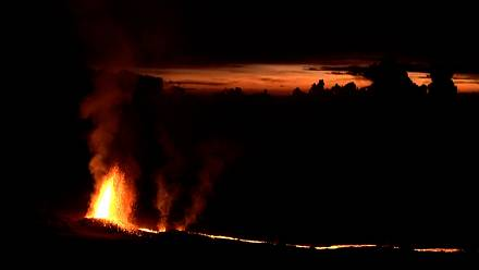 Images of Piton de la Fournaise volcano erupting in France's Reunion Island