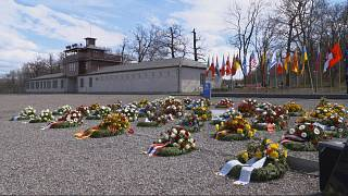 Wreaths laid at the former roll call site of the Buchenwald concentration camp