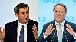آرمین لاشت (راست) و مارکوس زودر (چپ) رقبای نامزدی ائتلاف محافظهکار برای انتخابات ۲۰۲۱ آلمان