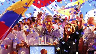 Guillermo Lasso, presidential candidate of Creating Opportunities party, celebrates after a presidential runoff election at his campaign headquarters in Guayaquil, Ecuador.
