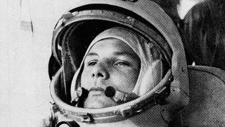 This undated photo shows cosmonaut Maj. Yuri Gagarin in his space suit.