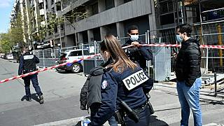 French police cordon off the area near the Henry Dunant private hospital where one person was shot dead and one injured in a shooting, Paris April 12, 2021.
