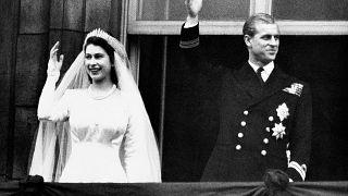 الأمير فيليب والملكة إليزابيث الثانية في زفافهما