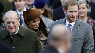 Britain's Prince Philip, Duke of Edinburgh, US actress and fiancee of Britain's Prince Harry Meghan Markle and Britain's Prince Harry