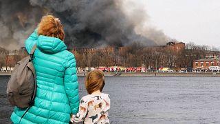 Fire burning in Nevskaya Manufaktura building