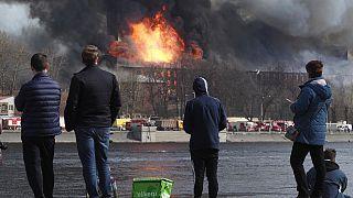 Incendie à Saint-Pétersbourg, le 12 avril 2021.