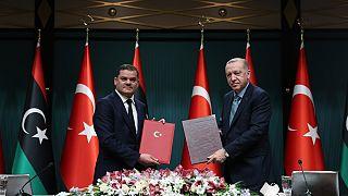 Cumhurbaşkanı Recep Tayyip Erdoğan ve Libya Milli Birlik Hükümeti Başbakanı Abdülhamid Dibeybe
