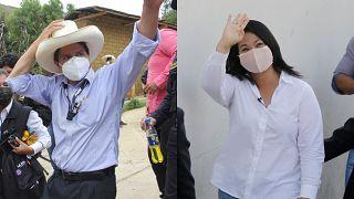 Los candidatos Pedro Castillo y Keiko Fujimori.