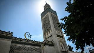 FILE: A picture taken on May 24, 2020 shows the minaret and facade of the Great Mosque of Paris
