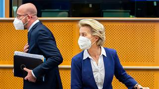 Ursula von der Leyen and Charles Michel arrive for a meeting at the European Parliament on Tuesday