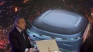 رئيس نادي ريال مدريد فلورنتينو بيريز في مدريد. 2019/04/02
