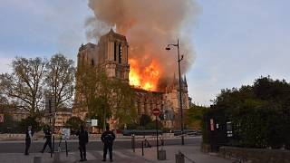 Fire engulfs Paris' Notre-Dame Cathedral on April 15, 2019.