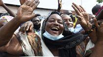 Supporters of re-elected Benin president Patrice Talon celebrate