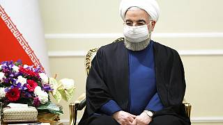 Iranian President Hassan Rouhani during talks with Russian in Tehran
