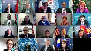 A screenshot of the virtual UN meeting