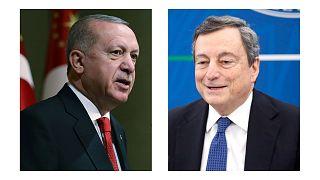 رجب طیب اردوغان، رئیس جمهوری ترکیه و ماریو دراگی، نخست وزیر ایتالیا
