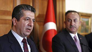Irak Kürt Bölgesel Yönetimi (IKBY) Başbakanı Mesrur Barzani (solda), Türkiye Dışişleri Bakanı Mevlüt Çavuşoğlu (sağda)