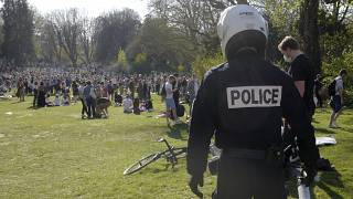Police evict a group of people in the Vauban park in Lille, northern France. March 30, 2021.