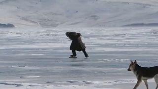 Lake Baikal, Russia - 5th March 2021. - Lyubov Morekhodova skating