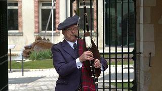 Robert Amyot MacKinnon playing the bagpipes