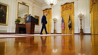 US-Präsident Joe Biden nach seiner Rede im Weißen Haus