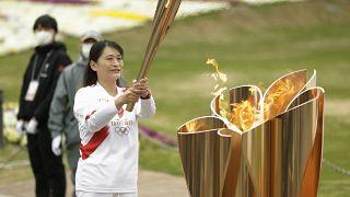 الشعلة الأولمبية في سويتا غرب اليابان. 2021/04/14