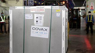 حاوية تحمل الشحنة الأولى من جرعات اللقاحات المضادة  لفيروس كورونا في إطار برنامج كوفاكس العالمي للأمم المتحدة