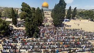 Primer viernes de Ramadán en la explnada de las mezquitas en Jerusalén