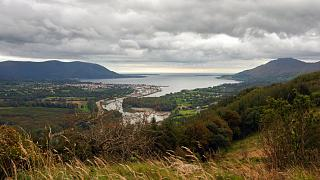 Warrenpoint village in the UK, whose ferry connects Northern Ireland, left, with the Republic of Ireland, right.