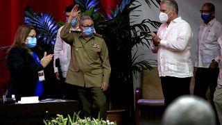 راوول كاسترو يحضرمؤتمر الحزب الشيوعي في هافانا. 2021/04/16