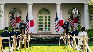 Japanese Prime Minister Yoshihide Suga, President Joe Biden