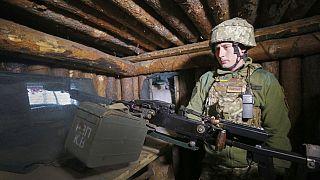 ukrán katonai harcállás Luhanszk közelében