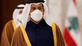 وزير الخارجية القطري الشيخ محمد بن عبد الرحمن يصل إلى قصر بعبدا للقاء الرئيس اللبناني ميشيل عون. 09/02/2021