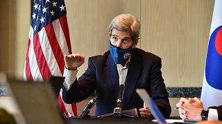 U.S. special envoy for climate John Kerry in Seoul, South Korea, Sunday, April 18, 2021.