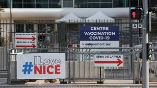 A closed vaccination center in the city of Nice, southern France, on April 18, 2021
