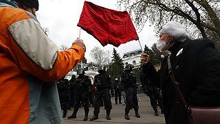 Акция протеста у посольства РФ в Праге